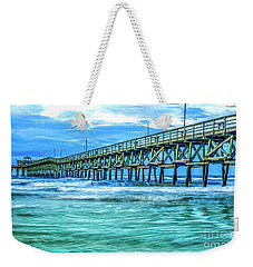 Sea Blue Cherry Grove Pier Weekender Tote Bag