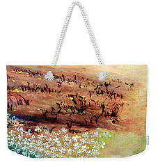 Weekender Tote Bag featuring the painting Sea Earth  by Winsome Gunning