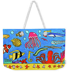 Weekender Tote Bag featuring the painting Sea Life by Artists With Autism Inc