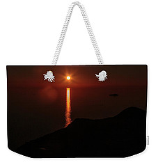 Sea, Mountains, Sunset, Sun Sinking Over The Horizon Weekender Tote Bag