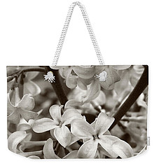 Weekender Tote Bag featuring the photograph Sea Of Lilacs Sepia by Kathi Mirto