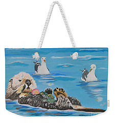 Weekender Tote Bag featuring the painting Sea Otter And Guardians by Phyllis Kaltenbach