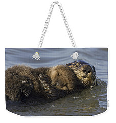 Sea Otter Mother With Pup Monterey Bay Weekender Tote Bag by Suzi Eszterhas