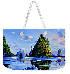 Weekender Tote Bag featuring the painting Sea Stack Serenity by Hanne Lore Koehler