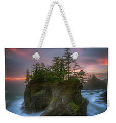 Sea Stack With Trees Of Oregon Coast Weekender Tote Bag