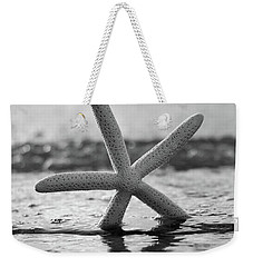 Weekender Tote Bag featuring the photograph Sea Star Bw Vert by Laura Fasulo