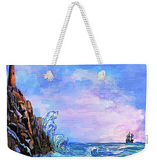 Weekender Tote Bag featuring the painting Sea Stories 2  by Andrzej Szczerski