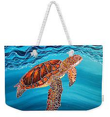 Weekender Tote Bag featuring the painting Sea Turtle by Debbie Chamberlin
