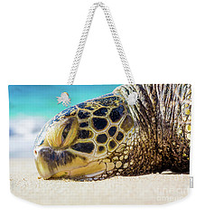 Sea Turtle Resting At The Beach Weekender Tote Bag