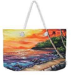 Weekender Tote Bag featuring the painting Sea Wall Lahaina by Darice Machel McGuire