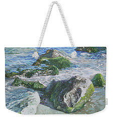 Sea Water With Rocks On Shore Weekender Tote Bag by Martin Davey