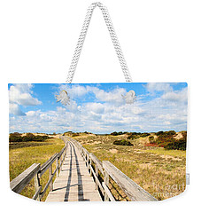 Weekender Tote Bag featuring the photograph Seabound Boardwalk by Debbie Stahre