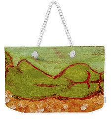 Weekender Tote Bag featuring the painting Seagirlscape by Paul McKey