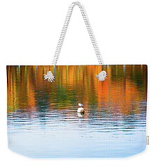 Weekender Tote Bag featuring the photograph Seagull And Boat by Silvia Ganora