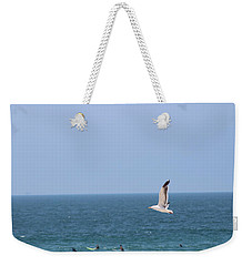 Seagull Flying Over Huntington Beach Weekender Tote Bag