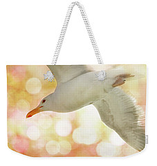 Seagull On Pink And Yellow Sky Weekender Tote Bag