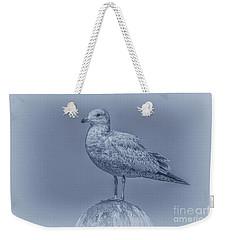 Seagull On Post In Blue Weekender Tote Bag by Randy Steele