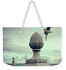 Weekender Tote Bag featuring the photograph Seagulls In Columns Dock by Carlos Caetano