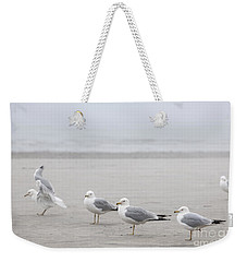 Seagulls On Foggy Beach Weekender Tote Bag
