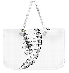 Weekender Tote Bag featuring the drawing Seahorse Black And White Sketch by Karen Whitworth