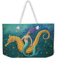 Weekender Tote Bag featuring the painting Seahorse Mermaid by Sue Halstenberg