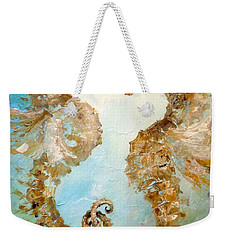 Weekender Tote Bag featuring the painting Seahorses In Love 2016 by Dina Dargo