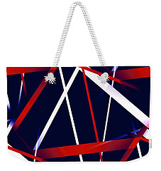Seamless Red And White Stripes On A Blue Background Weekender Tote Bag