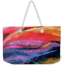 Weekender Tote Bag featuring the painting Seams Of Color by Kathy Braud