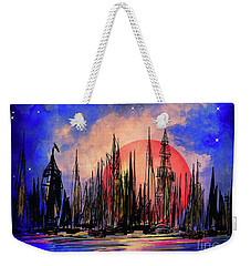 Weekender Tote Bag featuring the drawing Seaport by Andrzej Szczerski