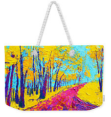Weekender Tote Bag featuring the painting Searching Within 2 Enchanted Forest Series - Modern Impressionist Landscape Painting Palette Knife by Patricia Awapara