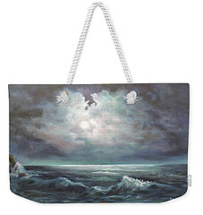 Weekender Tote Bag featuring the painting Moonlit  by Luczay