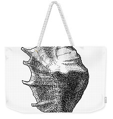 Weekender Tote Bag featuring the drawing Seashell 1 - Nautical Beach Drawing by Karen Whitworth