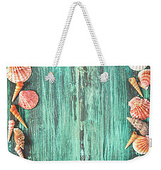 Seashell And Starfish Frame On Wooden Background Weekender Tote Bag