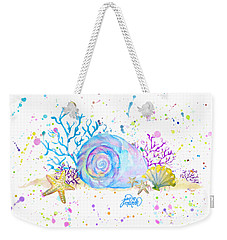 Seashells And Coral Watercolor Weekender Tote Bag