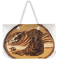 Weekender Tote Bag featuring the pyrography Seaside Sam by Denise Tomasura