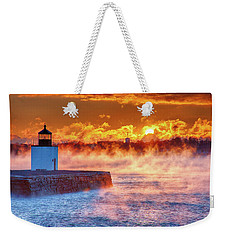 Seasmoke At Salem Lighthouse Weekender Tote Bag