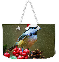 Seasons Greetings Chickadee Weekender Tote Bag