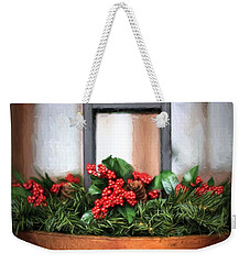 Weekender Tote Bag featuring the photograph Seasons Greetings Christmas Centerpiece by Shelley Neff