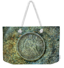 Weekender Tote Bag featuring the digital art Seated Libery Dime Coin Obverse by Randy Steele