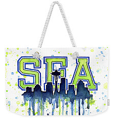 Seattle Watercolor 12th Man Art Painting Space Needle Go Seahawks Weekender Tote Bag by Olga Shvartsur