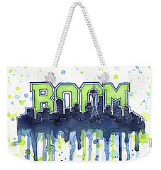 Seattle 12th Man Legion Of Boom Watercolor Weekender Tote Bag by Olga Shvartsur