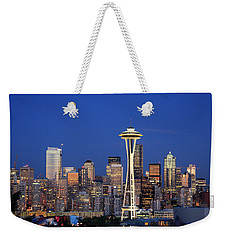 Seattle At Dusk Weekender Tote Bag by Adam Romanowicz