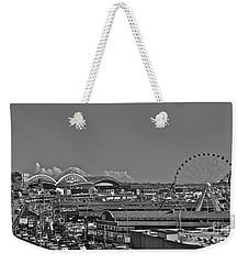 Seattle Black And White Weekender Tote Bag by Linda Bianic