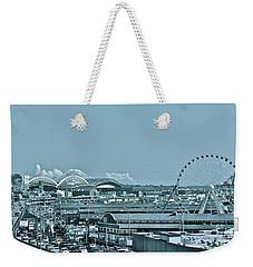 Seattle Cyan Weekender Tote Bag by Linda Bianic