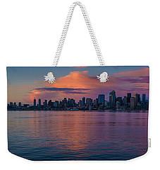 Seattle Dusk Skyline Details Reflection Weekender Tote Bag by Mike Reid