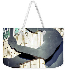 Weekender Tote Bag featuring the photograph Seattle Hammering Man by Spencer McDonald