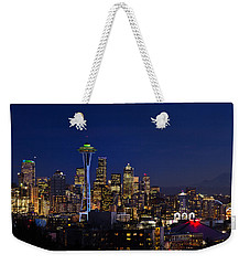 Seattle Seahawks Space Needle Weekender Tote Bag by Mary Jo Allen