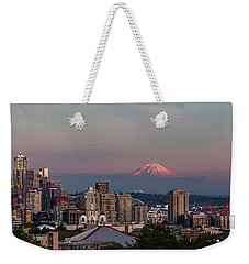 Weekender Tote Bag featuring the photograph Seattle Skyline And Mt. Rainier Panoramic Hd by Adam Romanowicz