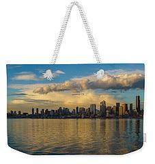 Seattle Skyline Dusk Dramatic Clouds Reflection Weekender Tote Bag by Mike Reid