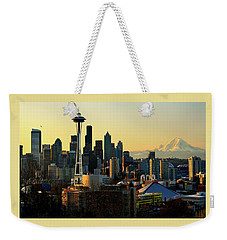 Seattle Skyline Weekender Tote Bag by Greg Sigrist